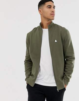Asos Design DESIGN jersey track jacket in khaki with triangle