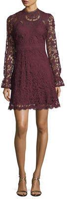 Catherine Malandrino Long-Sleeve Lace Fit-&-Flare Dress