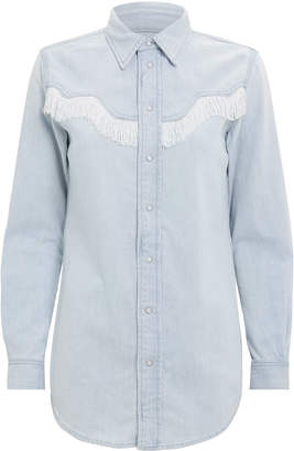 Ganni Soft Denim Fringe Shirt