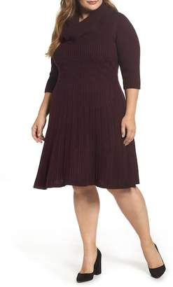 Eliza J Ribbed Waist Fit & Flare Dress (Plus Size)