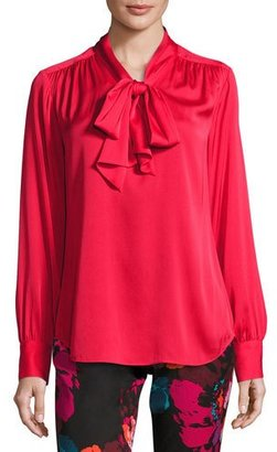 Trina Turk Deming Long-Sleeve Stretch Silk Top, Red $288 thestylecure.com