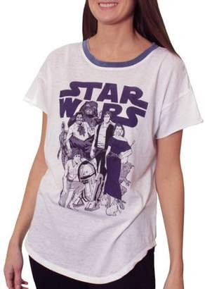 Star Wars Juniors' Main Cast Burnwash Ringer Shirtail Graphic Tee T-Shirt