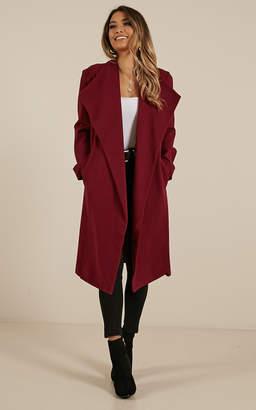 Showpo Temporary Love coat in wine - 6 (XS) Coats