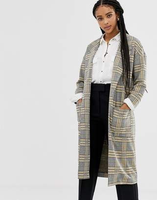 Brave Soul checked long line checked coat with patched pockets