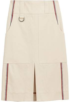 Burberry Stripe Detail Cotton A-line Skirt