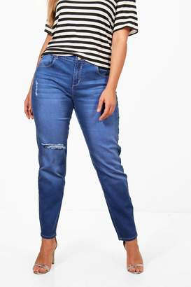 boohoo Plus Mid Rise Skinny Ripped Knee Jean