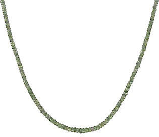 "QVC Sterling Faceted Sapphire Bead 18"" Necklace"