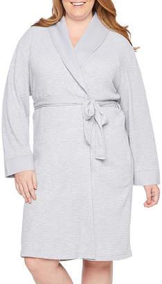 Liz Claiborne Long Sleeve Knit Robe-Plus