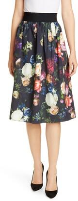 ADAM by Adam Lippes Elastic Waist Floral Print Poplin Skirt