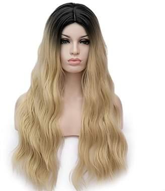 Amback Dye Dark Roots Cosplay Halloween Wig for Women Curly Wave Hair Wigs Cap RF8