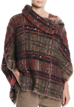Brunello Cucinelli Zip-Neck Paillettes Tartan Mohair Poncho Sweater