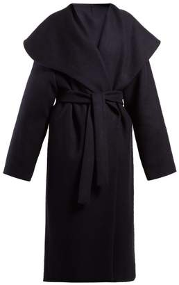 The Row Utan Cape Collar Wool Coat - Womens - Navy