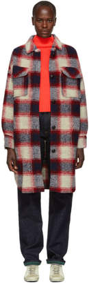 Etoile Isabel Marant Red and Blue Gario Wool Coat