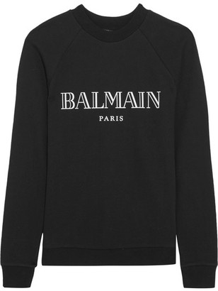 Balmain - Printed Cotton-jersey Sweatshirt - Black $425 thestylecure.com