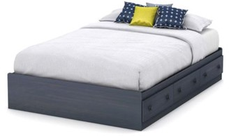 South Shore Furniture Summer Breeze Full Mates Bed (54'') with 3 Drawers, Blueberry