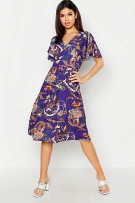 boohoo Satin Angel Sleeve Midi Dress