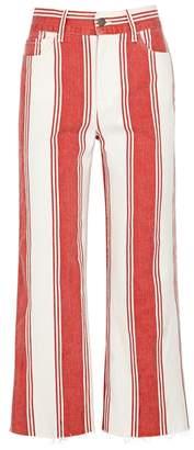 Frame Vintage Crop Striped Wide-leg Jeans