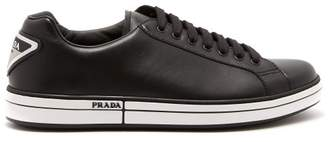Prada Low Top Leather Trainers - Mens - Black