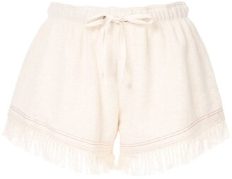 Monse towel fringed shorts