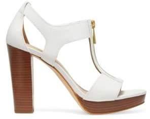 2442d4e662c MICHAEL Michael Kors Women s Berkley Platform Leather Sandals - Optic White  - Size 5.5
