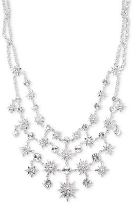 "Givenchy Silver-Tone Crystal Star Statement Necklace, 16"" + 3"" extender"