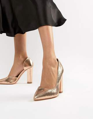 Glamorous rose gold block heeled shoes