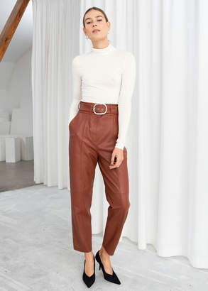 And other stories Belted Leather Trousers