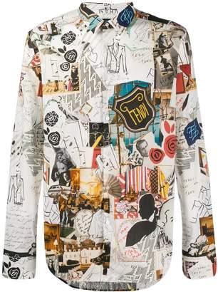 Fendi collage print slim-fit shirt