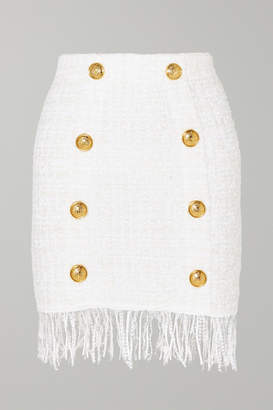 Balmain Button-embellished Fringed Bouclé Mini Skirt - White