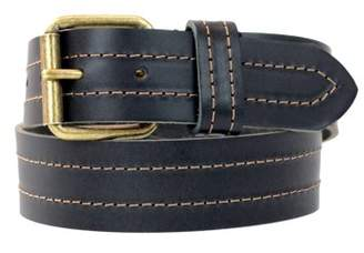 Montauk Leather Club 1-1/2 in. US Steer Hide Leather Double Stitch Men's Belt with Antique Brass Finish Roller Buckle