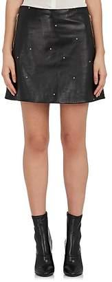 L'Agence Women's Jolie Star-Print Leather Miniskirt
