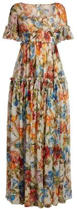 Dolce & Gabbana Floral Print Ruffle Trimmed Gown - Womens - White Multi