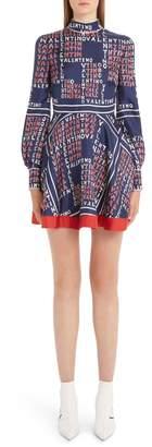 Valentino Puzzle Print Silk Twill Dress