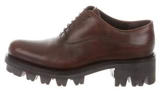 Prada Leather Lace-Up Oxfords Brown Leather Lace-Up Oxfords