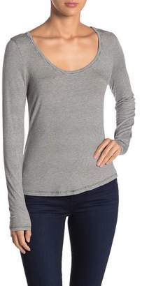 Melrose and Market Scoop Neck Striped Long Sleeve T-Shirt