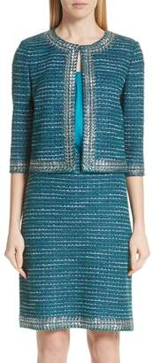 St. John Sequin & Sheen Tweed Knit Jacket