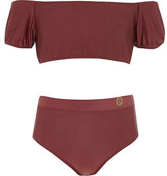 River Island Girls dark red puff sleeve bardot bikini