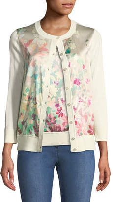 St. John Long-Sleeve Button-Front Floral-Print Cardigan