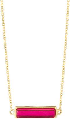 Gorjana Dez Bar Pendant Necklace, Pink Corundum