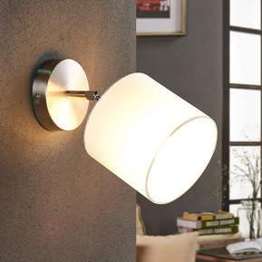 Verstellbare LED-Stoffwandleuchte Mairi in Weiß