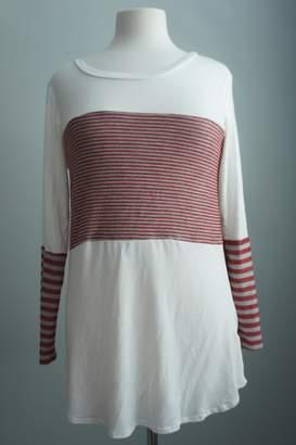 Unbranded Block-Grey-Red Stripe Top