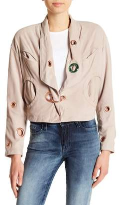 Diesel Multi Color Grommet Eyelet Goatskin Leather Jacket