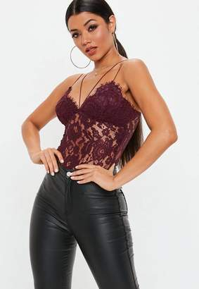 Missguided Burgundy Corded Lace Harness Bodysuit