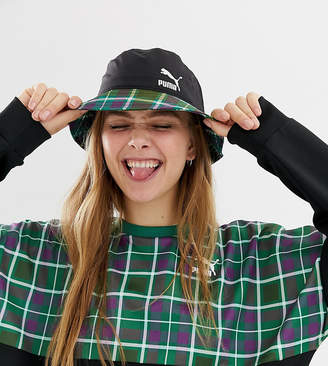 Puma exclusive green check bucket hat