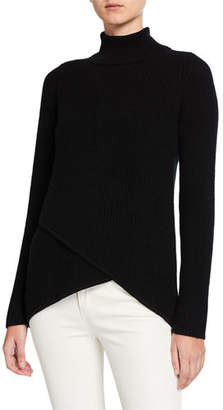 Neiman Marcus Crossover Ribbed Turtleneck Cashmere Sweater