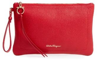 Salvatore Ferragamo Pebbled Leather Wristlet Clutch - Red $690 thestylecure.com