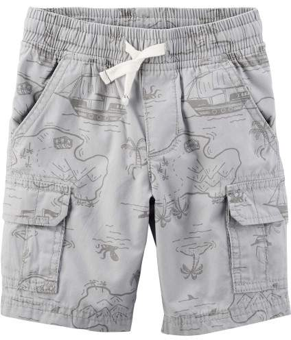 Little Boys Map Print Poplin Pull-On Cargo Shorts