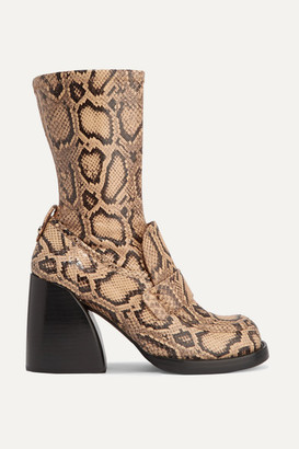 Chloé Adelie Python-effect Leather Ankle Boots - Snake print