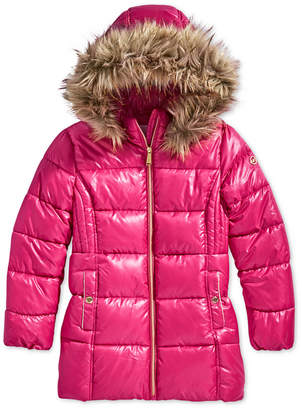 Michael Kors Little Girls Hooded Puffer Stadium Coat with Faux-Fur Trim