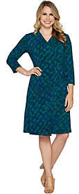 Halston H by Petite 3/4 Sleeve Printed WrapDress